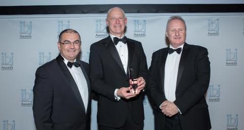 Gilles Kindelberger, CEO, Senalia, award sponsor; Steve Fletcher, President and CEO, McKeil Marine; Ray Girvan, Publisher, International Bulk Journal