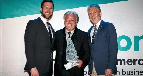 Keanin Loomis, President  & CEO of Hamilton Chamber of Commerce; Blair McKeil, Chairman and CEO of McKeil Marine; and Mayor Fred Eisenberger, Mayor, City of Hamilton