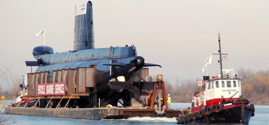 HMCS Ojibwa Being Towed