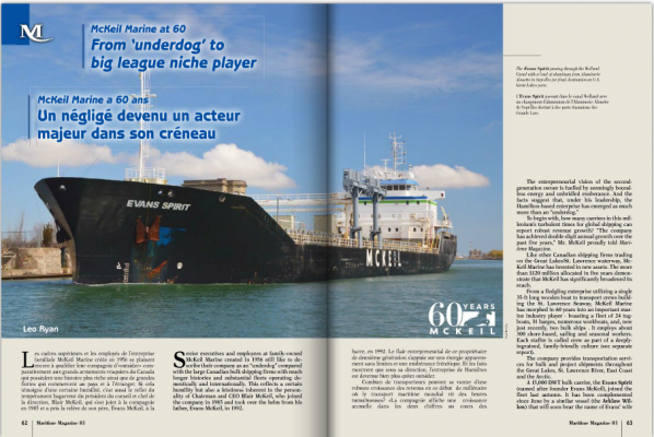 "Feature article in Maritime Magazine ""From Underdog to Big League Niche Player"""
