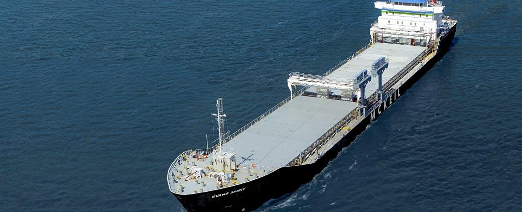 Aerial photos of Evans Spirit, a bulk carrier in McKeil's fleet.