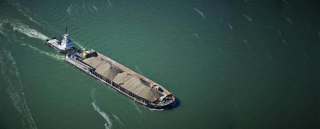 Image McKeil Marine barge Huron Spirit, aerial view.