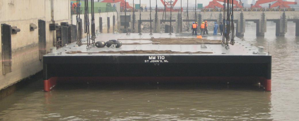 The MM 110 barge owned by McKeil Marine.