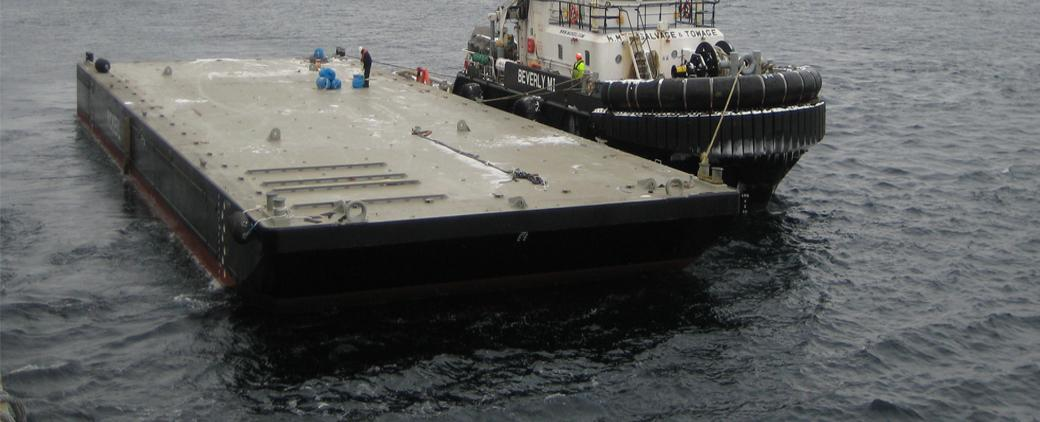 Close-up of the MM 142 barge.